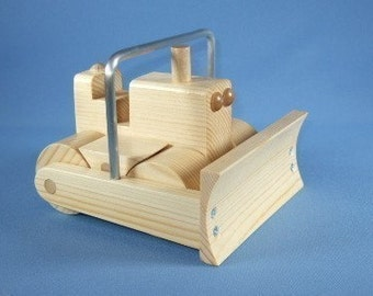 Handcrafted Wooden Toy Bulldozer