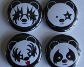 Rocker panda Button Set of 4. KISS inspired panda bears.