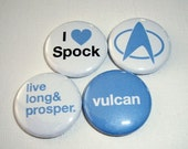 Star Trek Spock Inspired 1 Inch  Button Spock Set