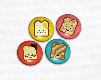 Magnets - Happy Toast Breakfast Illustrations - Cute Magnet set of 4