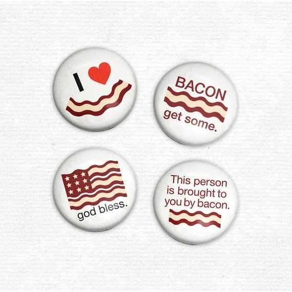 CUSTOM ORDER - Bacon Love Buttons - 12 Sets of 4