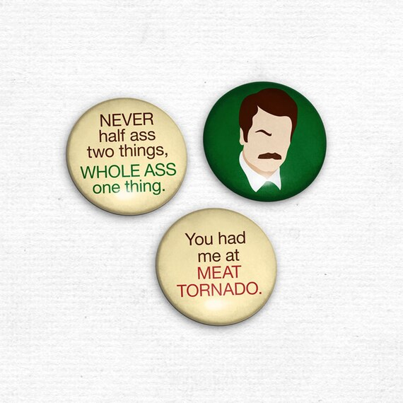 Ron Swanson Magnet Set of 3 Parks and Recreation inspired magnets