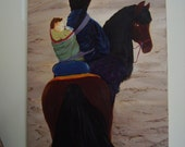 Wall Art Oil painting The Long Way Home horse baby mother traveling Tibetan infant sand bold color