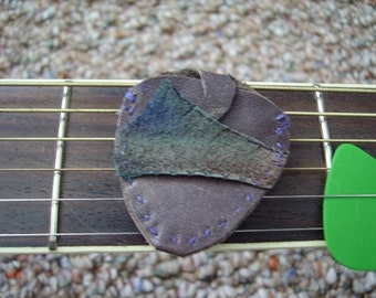 Guitar Pick Case Rustic Re-Purposed Leather Heron suede  Last One hand stitched Music Open to a surprise