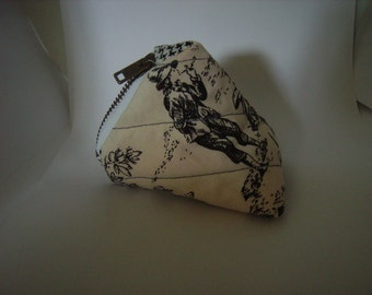 Biking or running Coin Pouch For Change mp3 case pouch coin bag toile black white zipper pocket