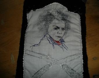 Sale Jonny Depp Bag Sweeney Todd Shoulder,Camera bag purple satin razor embroidered bag