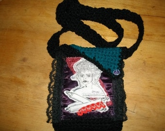 Bag Mrs Lovett of Sweeney Todd Hand Sketched Artisan Bag gadget case satin lining black lace