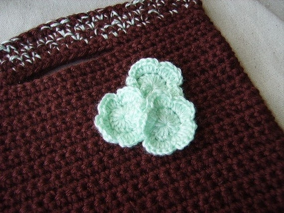 iPad Case 4 Net book iPad or Just 4 Fun Choc Mint Buttonhole Bag YUM Kindle tote
