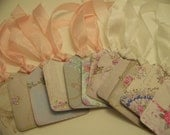 Floral Tags Antique Wallpaper Vintage Style Tags - Set of 12