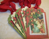 Christmas Tags - Vintage Collage Style - Set of 6
