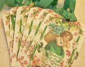 St Patricks Day Tags - Cute - Vintage Style - Set o 6