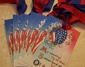 4th of July Tags American Flag Tags July 4th Tags Patriotic Tags Red White and Blue Party Favors Vintage Style - Set of 6 or 9