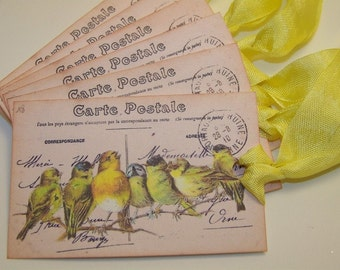 Bird Tags - French Vintage Inspired - Set of 6