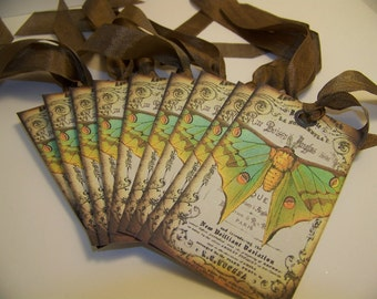 Butterfly Tags - French - Collage - Set of 9