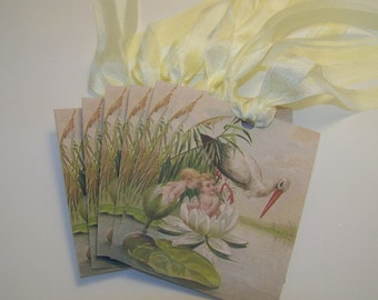 Baby Tags - Vintage Stork Image - Set of 6