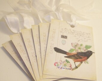 Bird Tags - French Post Card Collage - Set of 6