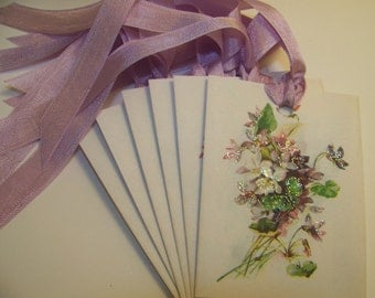 Floral Tags Violets Shabby Vintage Style - Set of 6