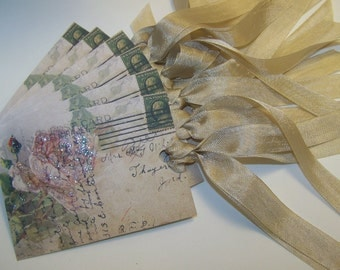 Gift Tags - Shabby Vintage Style Roses - Set of 6 or 9