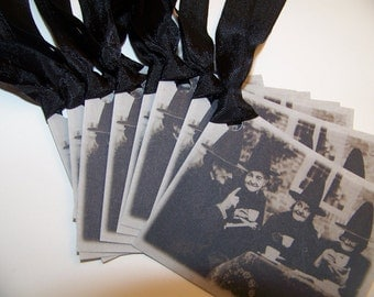 Halloween Witch Tags Halloween Tags Black and Gray - Set of 9