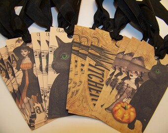 Halloween Tags Witch Tags Black Cat Tags - Set of 12