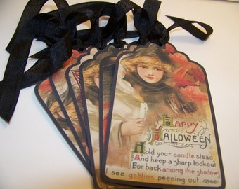 Halloween Tags Witch Tags Owl & Raven Vintage Style Tags  - Set of 6