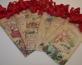 Christmas Tags - Vintage Shabby Style - Set of 6