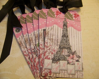 Christmas in Paris Tags - Pink and Black - Set of 6