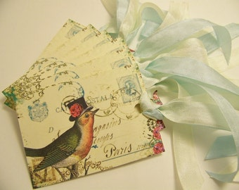 Bird Tags - Whimsical French Vintage - Wedding - Wish Tags - Set of 6