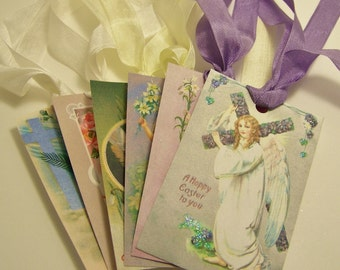 Easter Tags Religious Handmade Vintage Style Journaling Cards Junk Journal Supplies - Set of 6