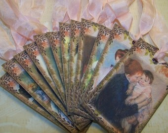 Mother's Day Tags Baby Shower Tags Mary Cassat Vintage Style Set of 12