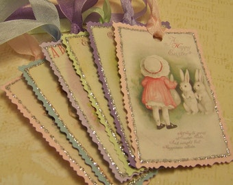 Easter Tags Vintage Shabby Style Cottage Chic Style Ellen Clapsaddle 1 - Set of 6