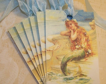 Mermaid Tags Summer Tags Handmade Vintage Style Set of 6 or 9
