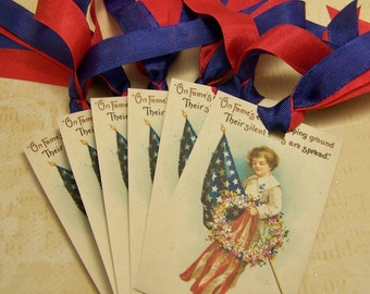 4th of July Tags - Americana Tags - Patriotic Tags - Set of 6