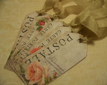 French Floral All Occasion Tags - Set of 5