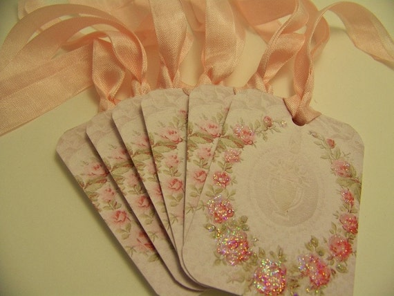 Pink Rose Tags - Vintage Style Tags - Wedding Wish Tags - All Occasion - Set of 6