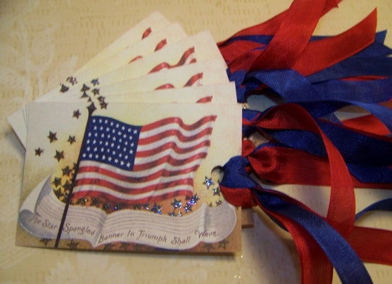 4th of July - Patriotic - American Flag Tags - Set of 6