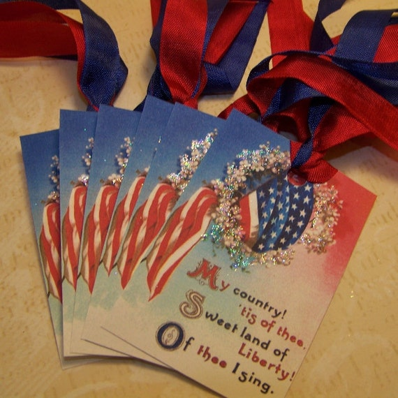 4th of July Tags - American Flag Tags - Patriotic Tags - Red White and Blue Tags - Set of 6