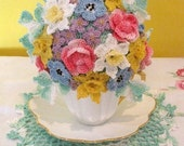 PDF Crochet Pattern- Springtime Tea Cup Bouquet