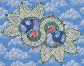 PDF Crochet Pattern- Blue Birds of Happiness Doily