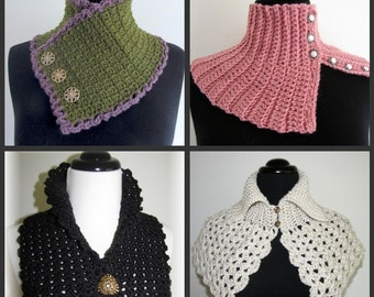 PDF Crochet Pattern Set- Quick and Easy Crocheted Scarflette Pattern Set  (6 different designs)