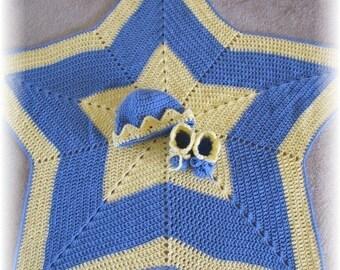 PDF Crochet Pattern- Twinkle, Twinkle Little Star Baby Blanket, Hat and Booties