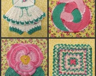 PDF Crochet Pattern Set- Decorative Thread Potholders  (25 different designs)
