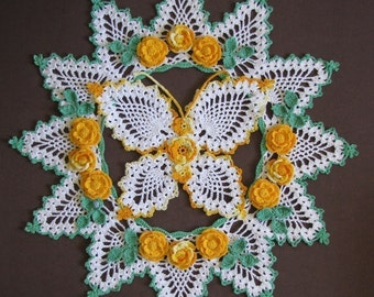 PDF Crochet Pattern-  Butterflies and Roses Pineapple Doilies  Pattern Set (6 different designs)