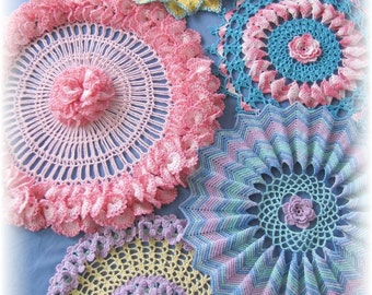 PDF Crochet Pattern- Ripples, Ruffles and Roses Doilies  (5 different designs)