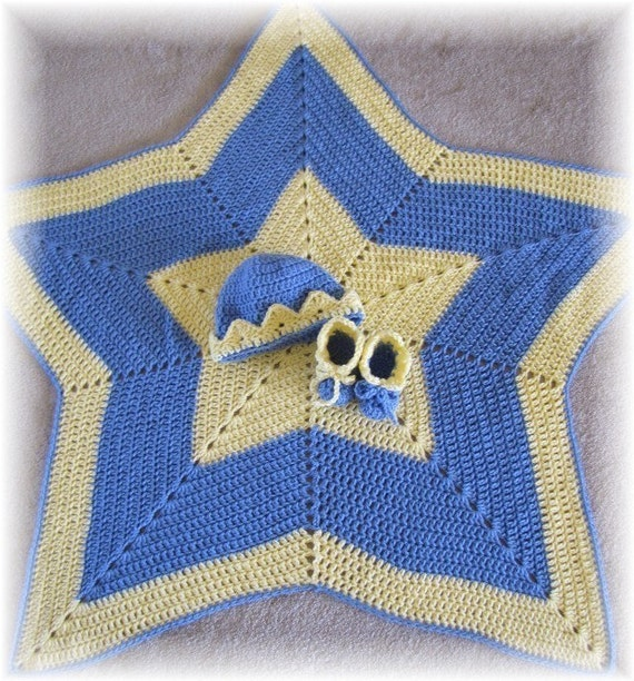 Twinkle, Twinkle Little Star Baby Blanket, Hat and Booties Crochet PDF Pattern