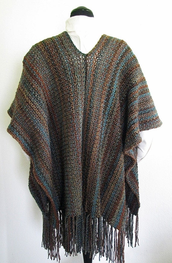PDF Crochet Pattern- Indian Summer Ruana (Wrap, Shawl ...
