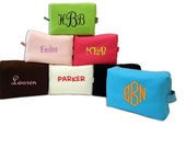 Large Waffle Weave Cosmetic Toiletry Bag Monogrammed Personalized Many New Colors
