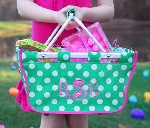 Personalized Mini Market Totes Monogrammed Easter Basket Polka