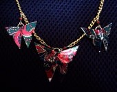 Origami Necklace - Red, Green and Gold Brocade Style Butterfly Necklace