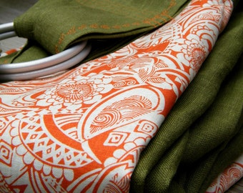 Deep Cedar Green Pure Softened Linen Ring Sling with Accent --Unique and Bold--